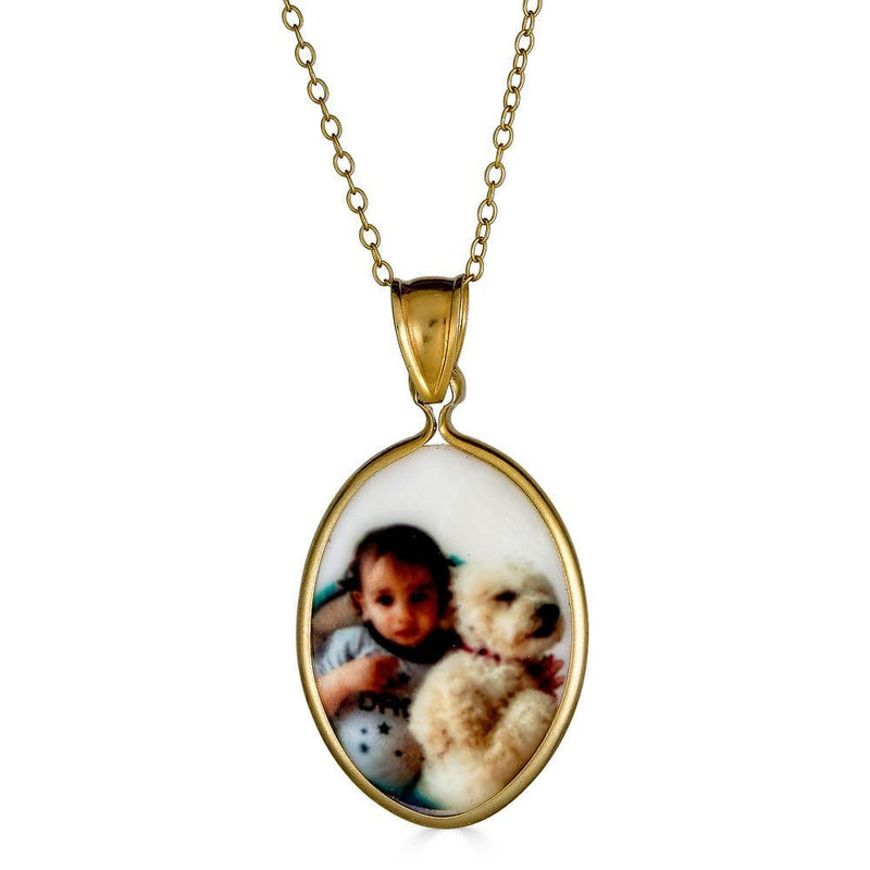 Ari&Lia Picture Pendants 18K Gold Over Silver Oval Mother Of Pearl Picture Pendant C91110-GPSS