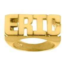 Ari&Lia Rings 18K Gold Over Silver Block All Capital Name Ring NR90631-GPSS