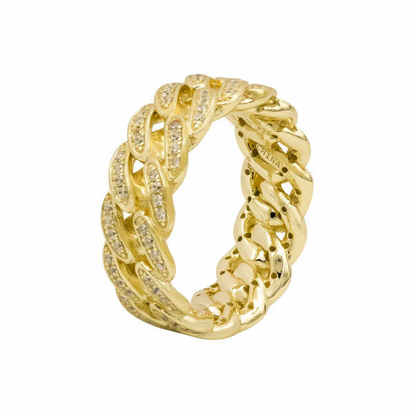 Ari&Lia Rings 18K Gold Over Silver Curb Link With Cubic Zirconia Ring 11020-GPSS