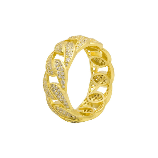 Ari&Lia Rings 18K Gold Over Silver Curb Ring with Cubic Zirconia 11021-GPSS