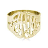 Ari&Lia Rings 18K Gold Over Silver Script Monogram Ring 1334-GPSS