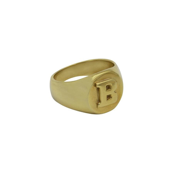 Ari&Lia Rings 18K Gold Over Silver Women's Signet Initial Ring 15QR1500-GPSS