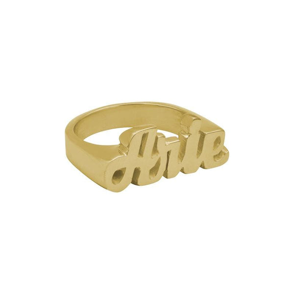 Ari&Lia Rings 18K Gold Over Silver Womens Block Name Ring NR90580-GPSS