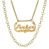 Ari&Lia Single 18K Gold Over Silver Celebrity Inspired Double Chain Name Necklace NP30572-GPSS