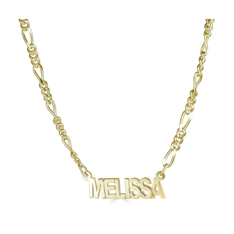 Ari&Lia Single 18K Gold Over Silver Single Block Name Necklace with Figaro Chain NP5-GPSS