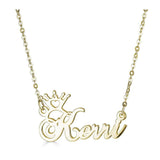 Ari&Lia Single 18K Gold Over Silver Single Crown High Polish Name Necklace NP30568-GPSS