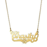 Ari&Lia Single 18K Gold Over Silver Single Script Name Necklace with Flower Design NP90582-GPSS