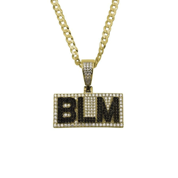 Ari&Lia Single & Trendy 18K Gold Over Silver BLM Pendant With Curb Chain. 2.5 Cubic Zirconia BLM-GPSS