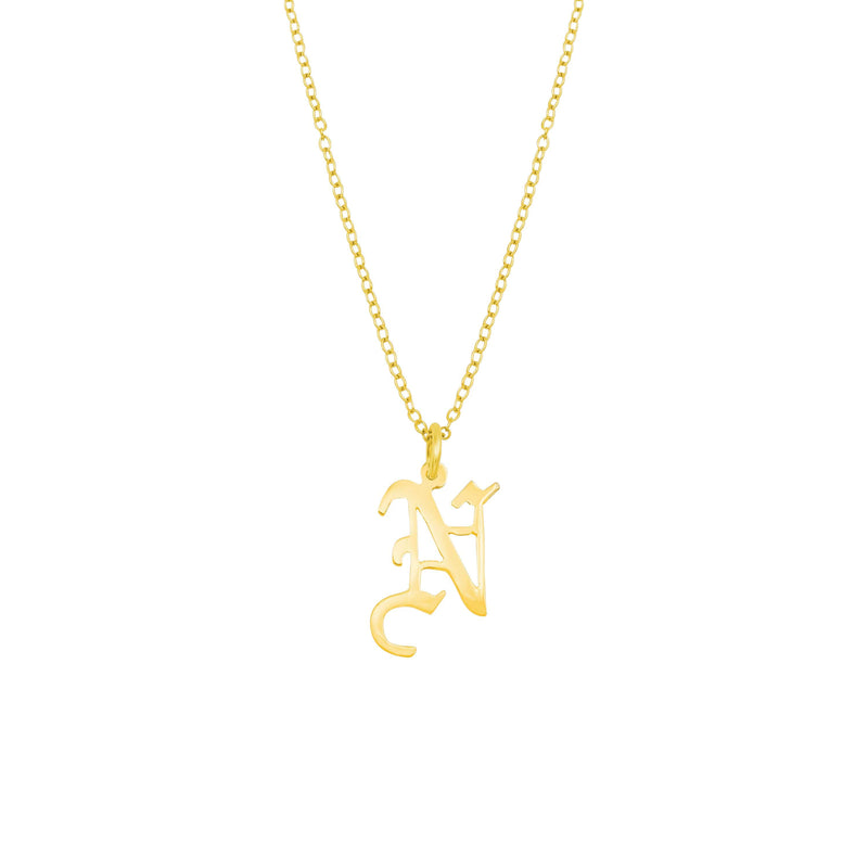 Ari&Lia Single & Trendy 18K Gold Over Silver Gothic Initial Necklace