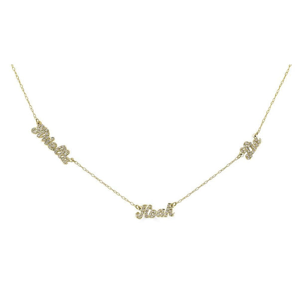 Ari&Lia Single & Trendy 18K Gold Over Silver Script Mini Name Necklace With Diamonds NP90043-SCRIPT-Diam-GPSS