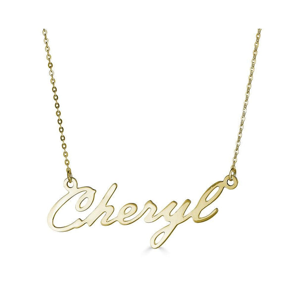 Ari&Lia Single & Trendy 18K Gold Over Silver Single High Polish Script Cheryl NP30539-GPSS