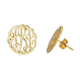 Ari&Lia Stud Earrings 18K Gold Over Silver Post Monogram Earrings 509-GPSS