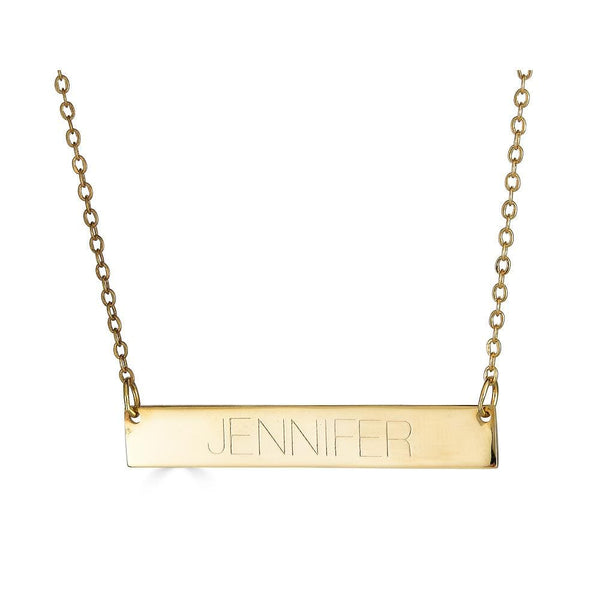 Ari&Lia Trendy 18K Gold Over Silver Bar Necklace With Engraving NP90651-GPSS