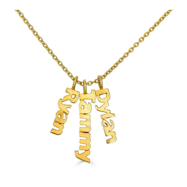 Ari&Lia Trendy 18K Gold Over Silver Block Vertical Mini Names P5003-BLOCK-GPSS