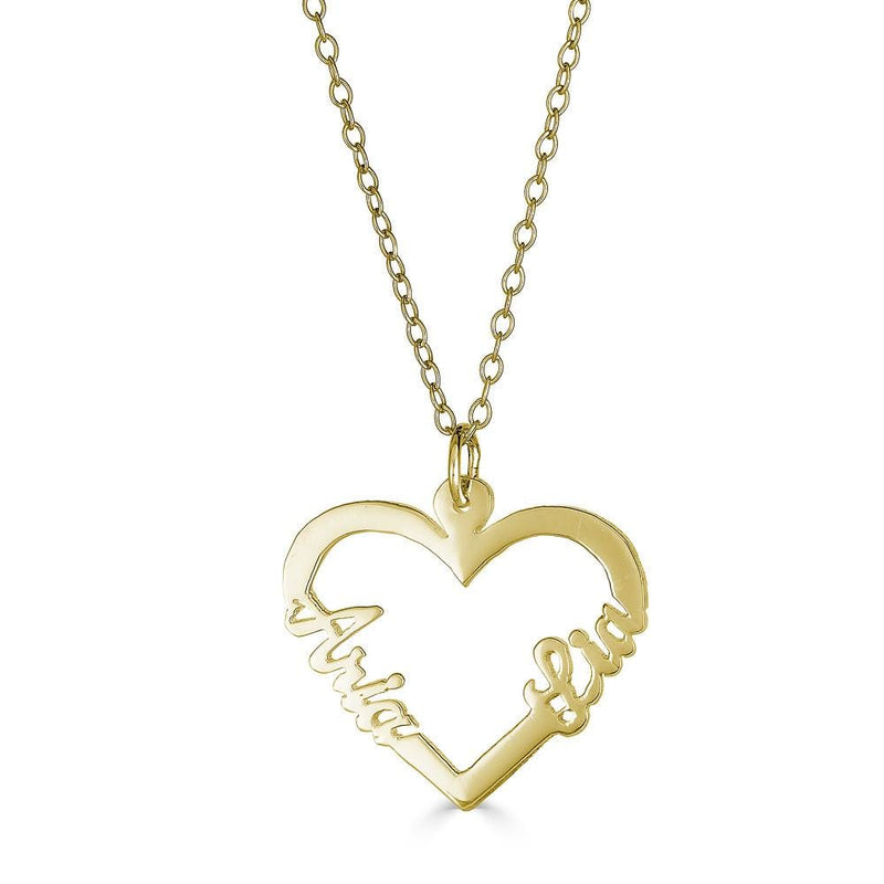 Ari&Lia Trendy 18K Gold Over Silver Double Name Script Heart Pendant NP10075-GPSS