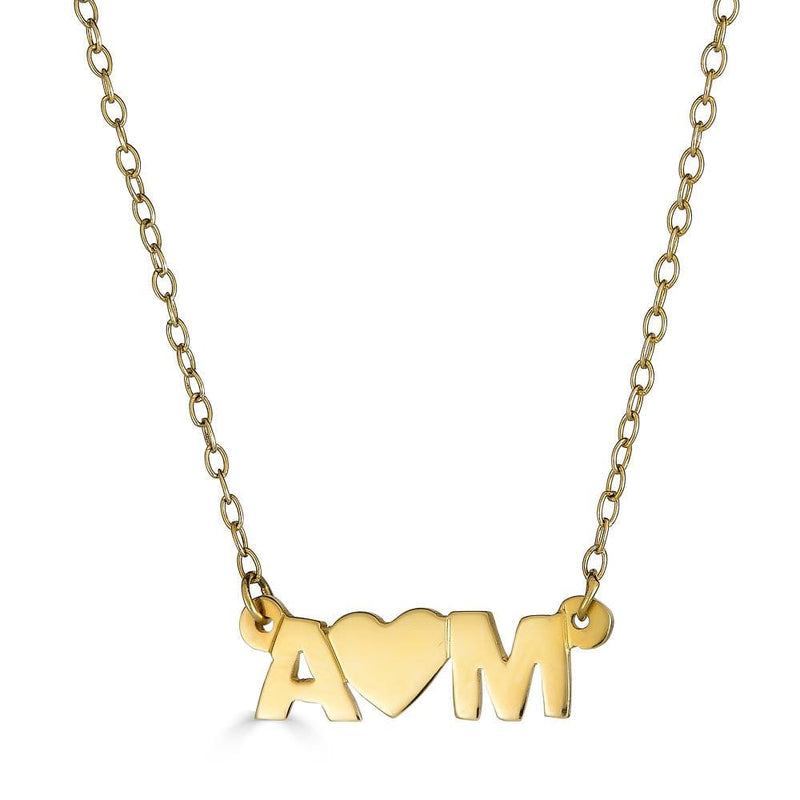Ari&Lia Trendy 18K Gold Over Silver Initial Heart Initial Necklace NP10074-GPSS