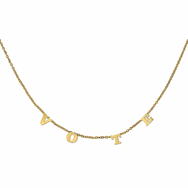 Ari&Lia Trendy 18K Gold Over Silver Trending Vote Necklace 5500-GPSS-MO