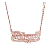 Ari&Lia CURB CHAINS 18K Rose Gold Over Silver Diamond Accent Double Plated Name Necklace With Curb Chain NPGF101-Curb-RG