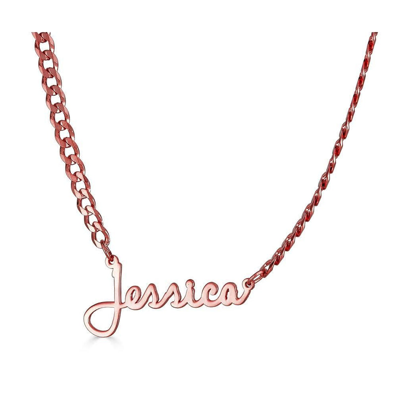 Ari&Lia CURB CHAINS 18K Rose Gold Over Silver Single High Polish Script Name Necklace With Curb Chain NP30543-Curb-RG