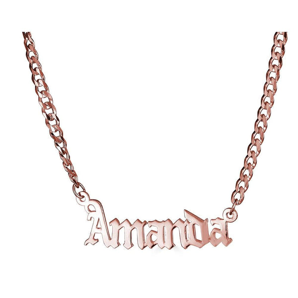 Ari&Lia CURB CHAINS 18K Rose Gold Over Silver Single Plate High Polish Gothic Name Necklace With Curb Chain NP30578-Curb-RG