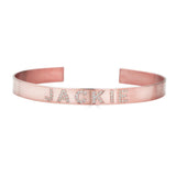 Ari&Lia Delicate 18K Rose Gold Over Silver Customize Cz Bangle ZB5036-CZ-RG