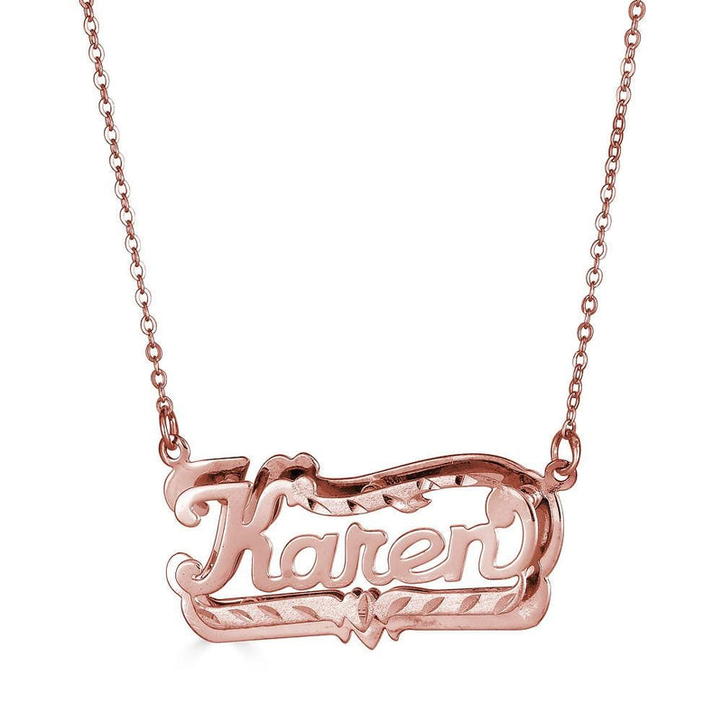 Ari&Lia Double Plated Necklaces 18K Rose Gold Over Silver Diamond Cut Double Plated Name Necklace NP80047-RG