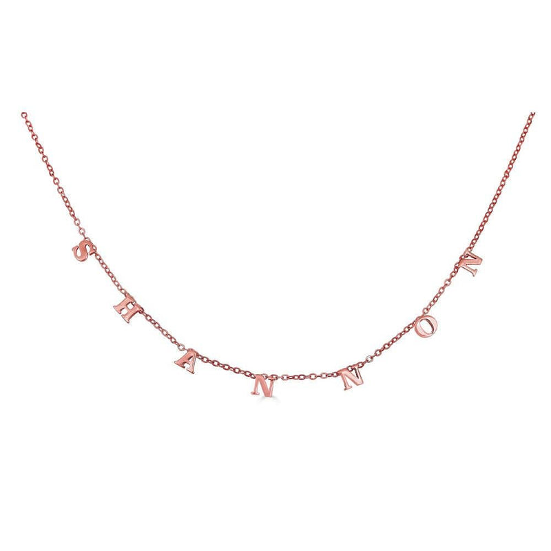 Ari&Lia Name Necklace 18K Rose Gold Over Silver Block Kids Spaced Out Name Necklace 5500-RG