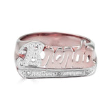 Ari&Lia Name Rings 18K Rose Gold Over Silver Script Name Ring With Diamond Accent NR90623-RG
