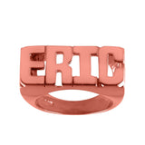 Ari&Lia Rings 18K Rose Gold Over Silver Block All Capital Name Ring NR90631-RG