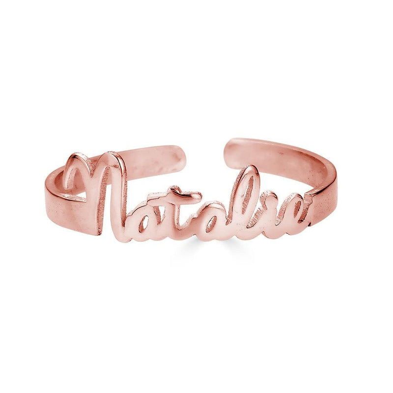 Ari&Lia Rings 18K Rose Gold Over Silver Mini Script Name Ring With Open Back NR91689-RG