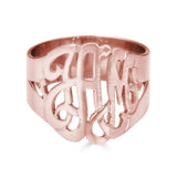Ari&Lia Rings 18K Rose Gold Over Silver Script Monogram Ring 1334-RG