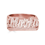 Ari&Lia Rings 18K Rose Gold Over Silver Script Name Ring with Diamond Accent NR90622-RG
