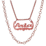 Ari&Lia Single 18K Rose Gold Over Silver Celebrity Inspired Double Chain Name Necklace NP30572-RG