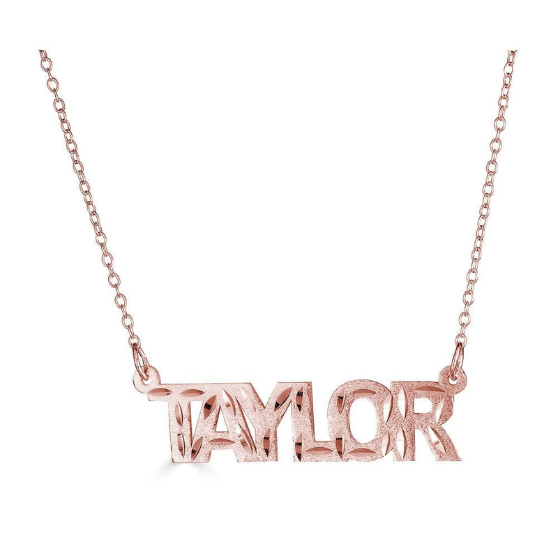 Ari&Lia Single 18K Rose Gold Over Silver Single Block Name Necklace With Diamond Cut NP90581-RG