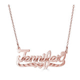 Ari&Lia Single 18K Rose Gold Over Silver Single Script With Diamond Cut NP90583-RG