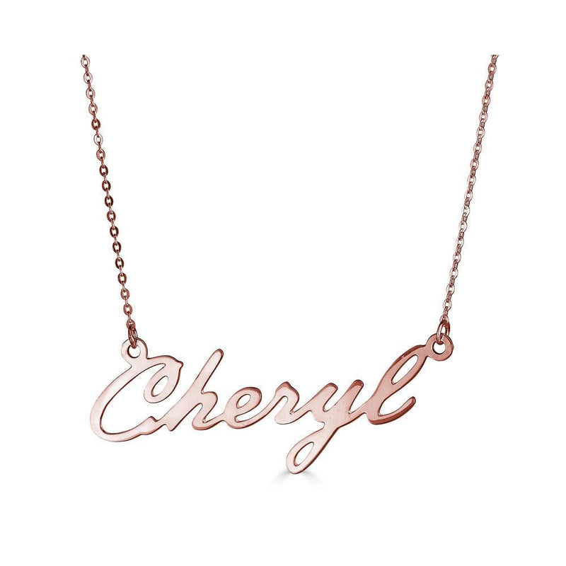 Ari&Lia Single & Trendy 18K Rose Gold Over Silver Single High Polish Script Cheryl NP30539-RG