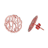 Ari&Lia Stud Earrings 18K Rose Gold Over Silver Post Monogram Earrings 509-RG