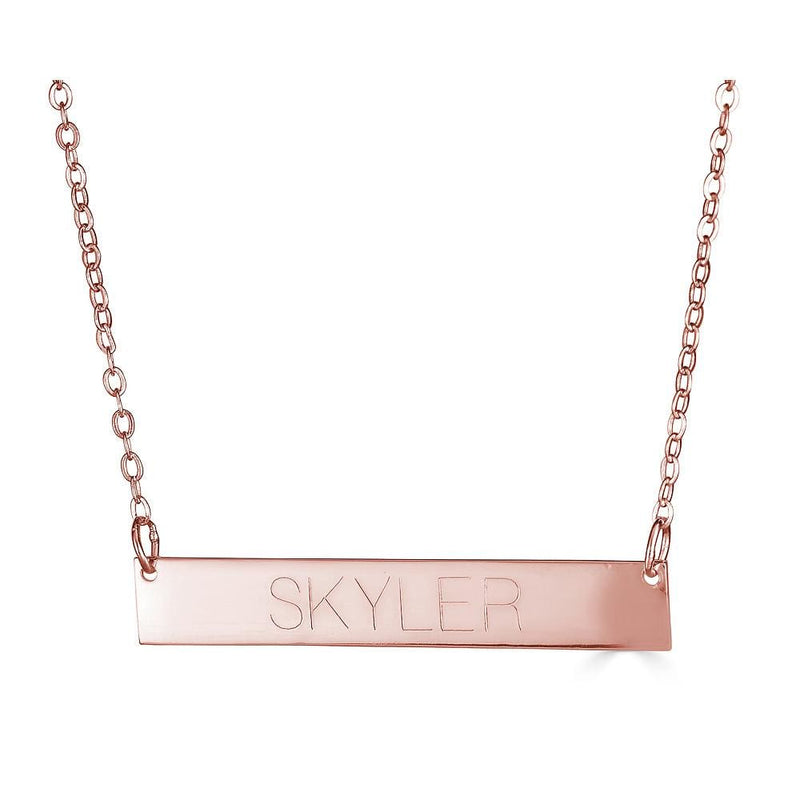 Ari&Lia Trendy 18K Rose Gold Over Silver Bar Necklace With Engraving NP90651-RG