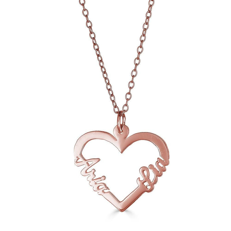 Ari&Lia Trendy 18K Rose Gold Over Silver Double Name Script Heart Pendant NP10075-RG