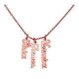 Ari&Lia Trendy 18K Rose Gold Over Silver Script Vertical Mini Names P5003-SCRIPT-RG