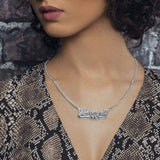 Ari&Lia CURB CHAINS Diamond Accent Double Plated Name Necklace With Curb Chain