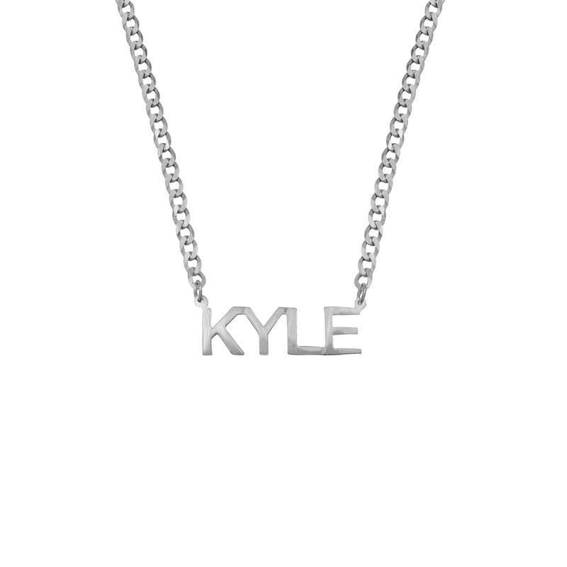 Ari&Lia CURB CHAINS Girls Block Name Necklace with Curb Chain