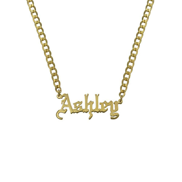 Ari&Lia CURB CHAINS Girls Single Gothic Name Plate with Curb Chain