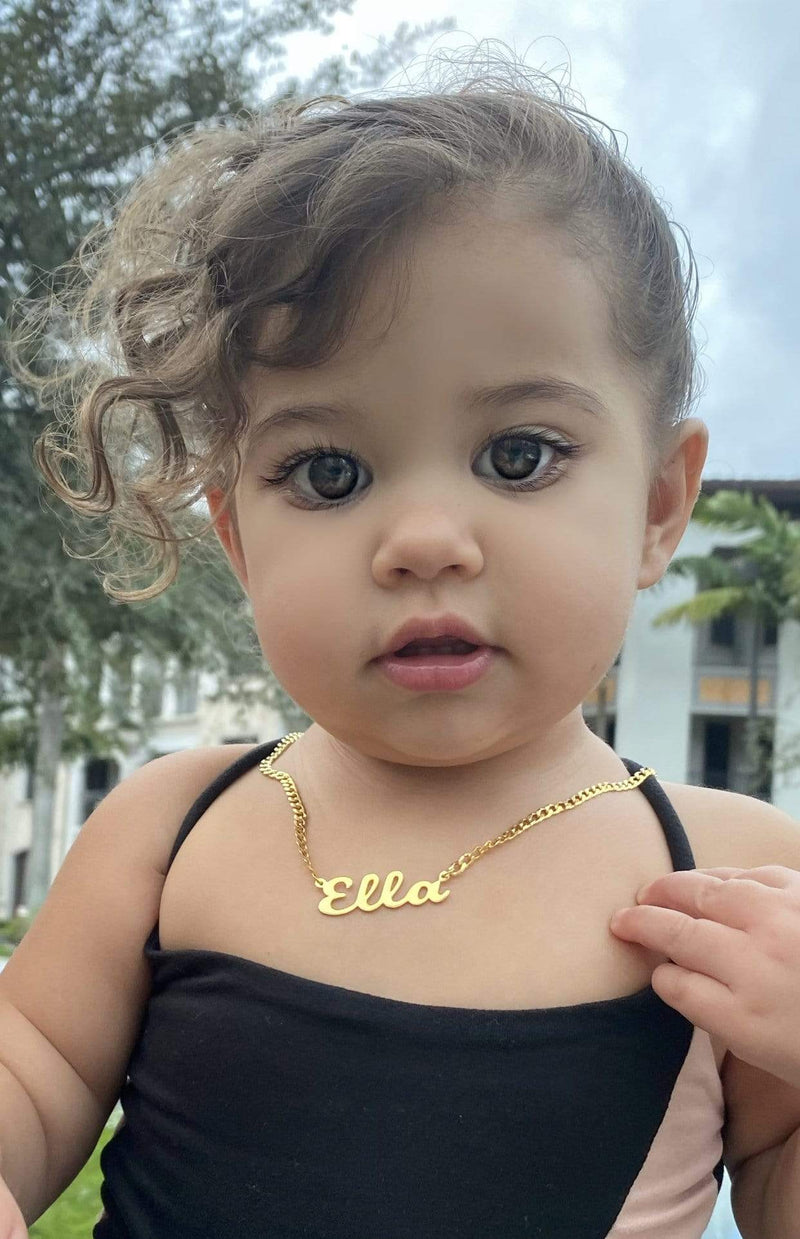 Ari&Lia CURB CHAINS Kids Single High Polish Script Name Necklace With Curb Chain