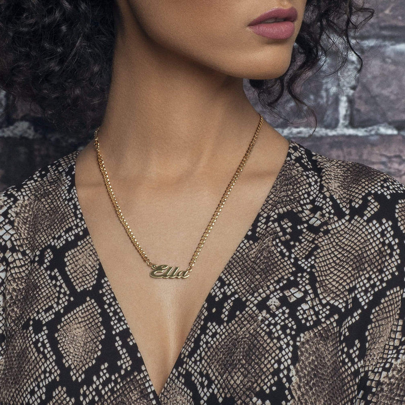 Ari&Lia CURB CHAINS Single High Polish Script Name Necklace With Curb Chain