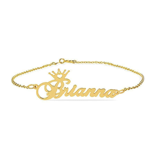 Ari&Lia Delicate Crown Ankle Name Bracelet