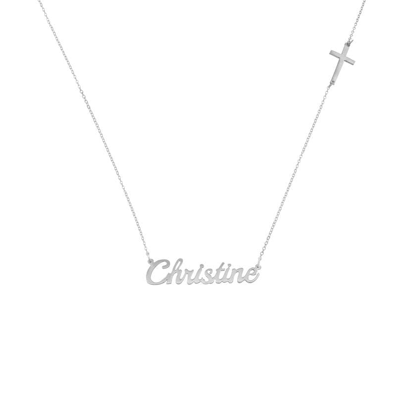 Ari&Lia Double Plated Necklaces Single Script Name Necklace with Cross