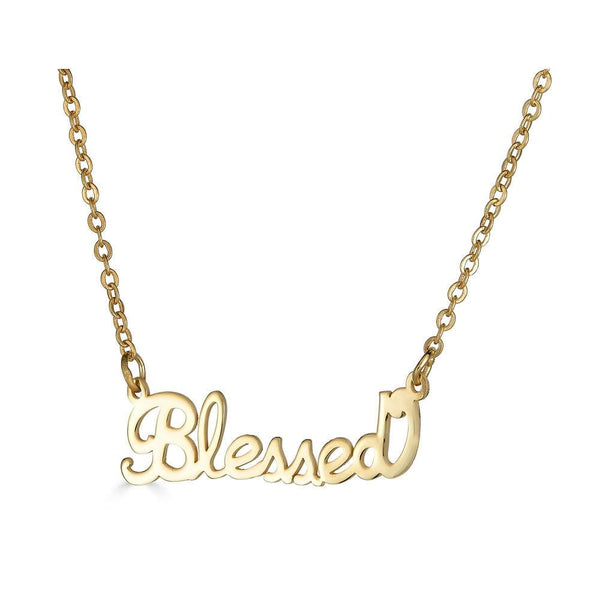 Ari&Lia Empowered Name Necklaces Gold Plated Blessed Empowered Name Necklace NP90580-BLESSED-GPSS