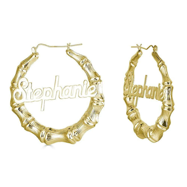"Ari&Lia Hoop Earrings Gold Plated 1.5"" Bamboo Name Earrings NE90603-GPSS"
