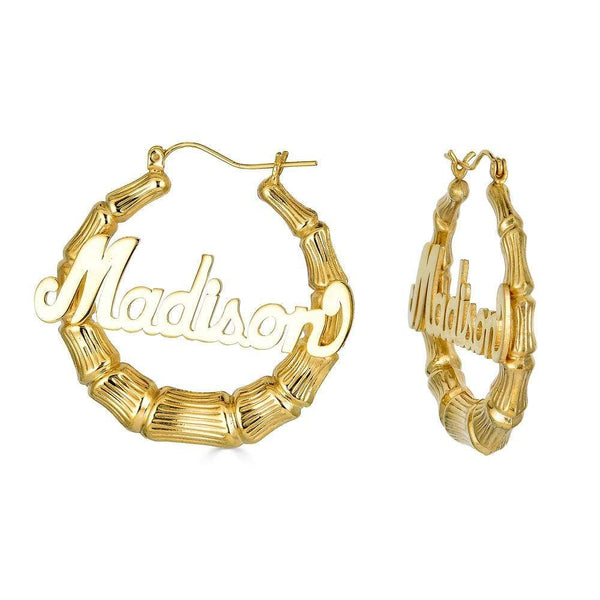 "Ari&Lia Hoop Earrings Gold Plated 2"" Bamboo Name Earrings NE90605-GPSS"